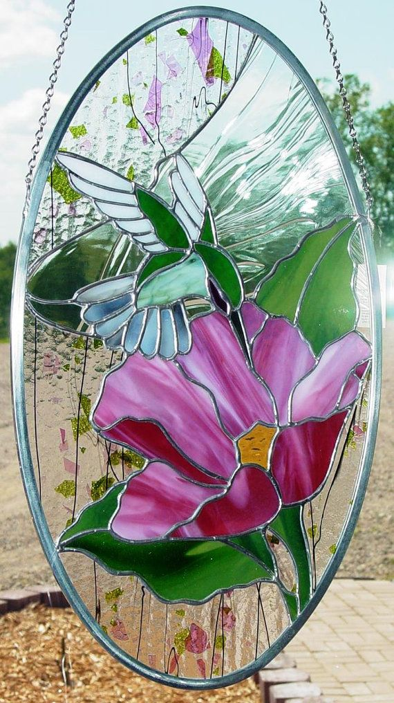 Hummingbird and Flower Stained Glass Panel Suncatcher                                                                                                                                                                                 More
