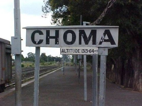 Choma train station 1313 metres above sea level information post