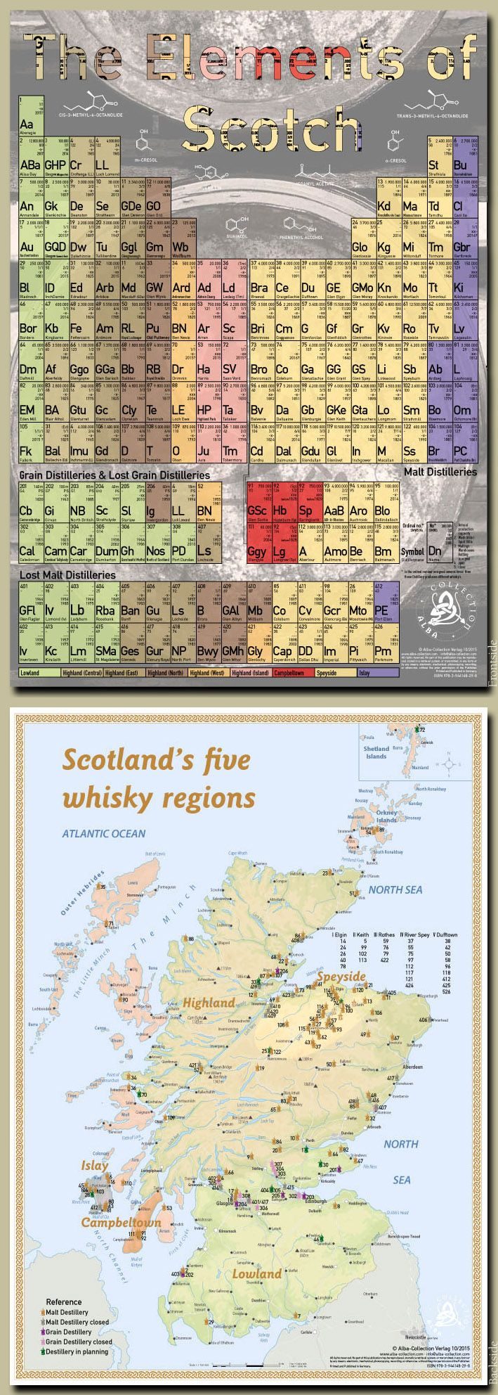 """The Elements of Scotch"" - Tasting Map here you have to overview of all Scottish distilleries over the load 60 years until today. A ""must have"" for everyone interested in whiskey. Size 24x34 centimeters (Double Sided) - ISBN-No. 978-3944148-29-8 · www.alba-collection.com"