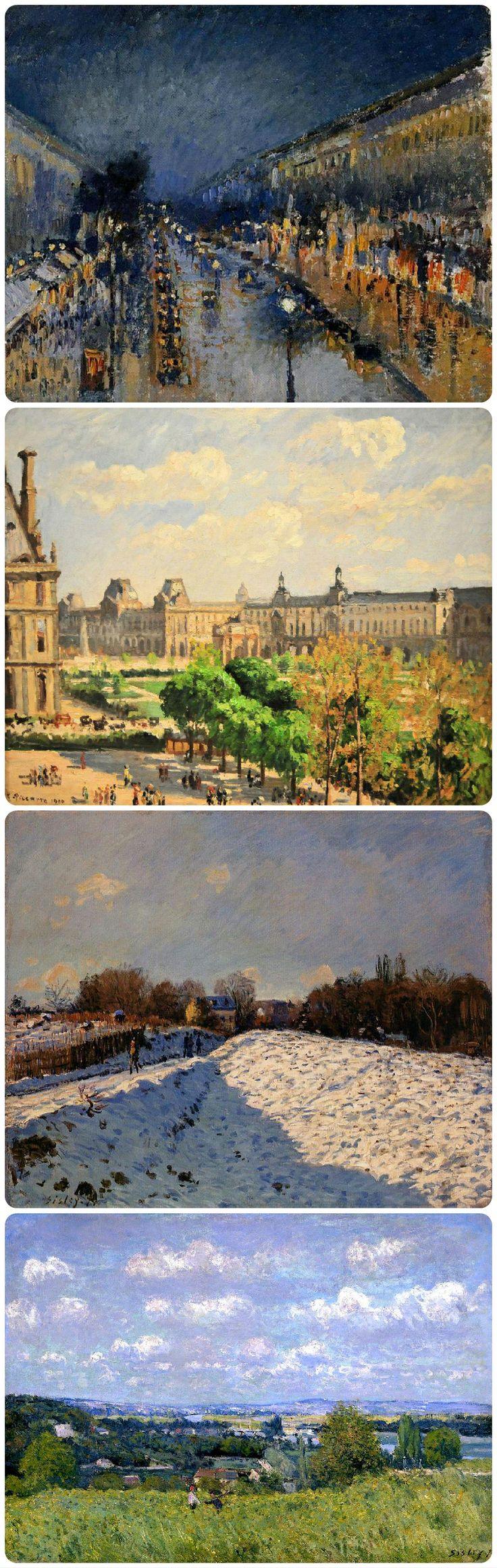Tipici quadri impressionisti. Dall'altro: Camille Pissarro, boulevard di Montmartre di notte, 1897; place du Carousel, 1900. Alfred Sisley, neve ad Argenteuil, 1874; valle della Senna a Saint-Cloud, 1875.