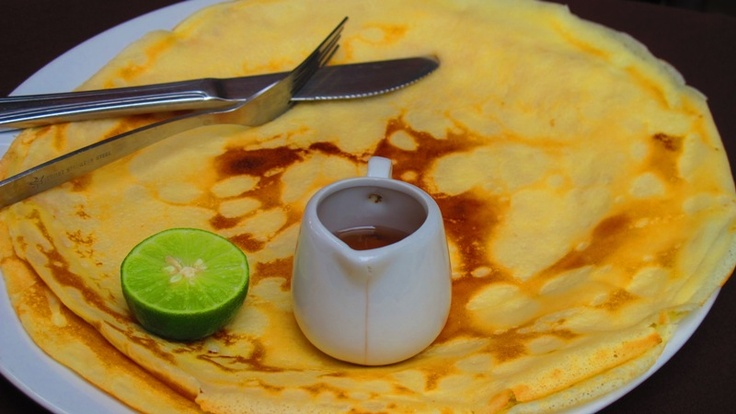 pancake with lime and honey