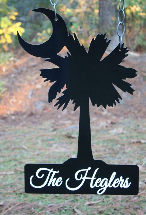 Palmetto Tree With Crescent Moon Garden Flag Metal Sign