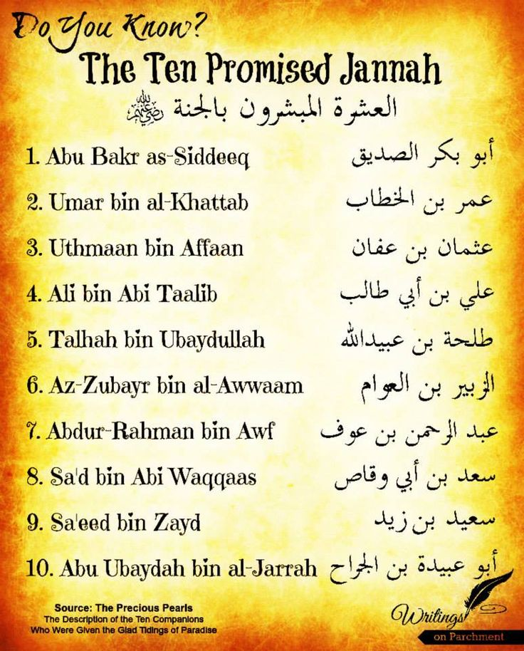 The 10 Sahaba (Companions of the Prophet) who Promised Djannah (Paradise)
