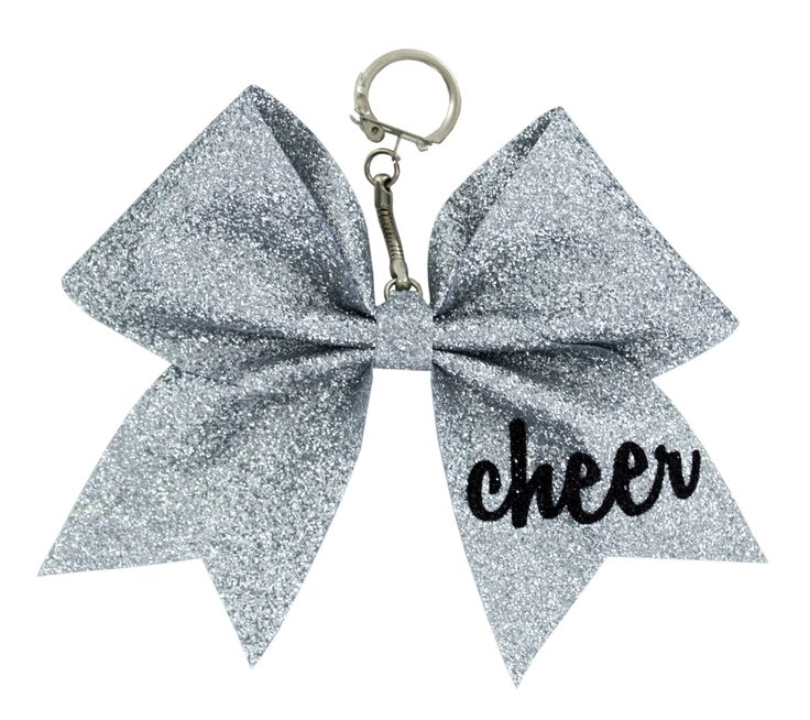 This cute keychain gift will look perfect on your cheer backpack! Glitter Bow Keychain with Glitter Black Cheer on Tail                                                                                                                                                      More