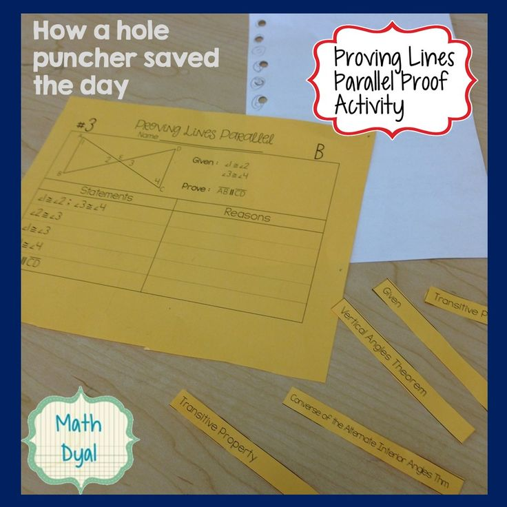 Activity idea for proving lines parallel proofs in geometry using a hole puncher. Math Dyal