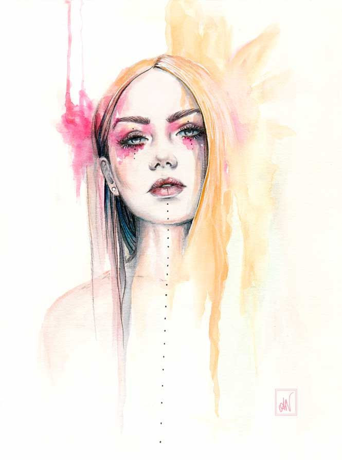"""Watercolour and ink illustration """"Maeve"""". (instagram: @alicianilssoncreates)"""