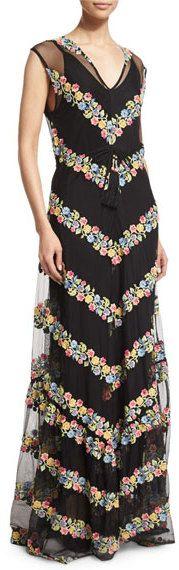 Calypso St. Barth Sakile Floral-Chevron Maxi Dress, Black