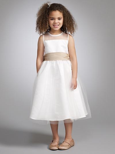 Buy John Lewis Girl Mesh Dress with Tonal Sash, Ivory online at JohnLewis.com - John Lewis