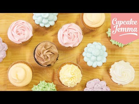 Buttercream Piping Tips & Techniques | Cupcake Jemma - YouTube Great video to show all kinds of piping. :D