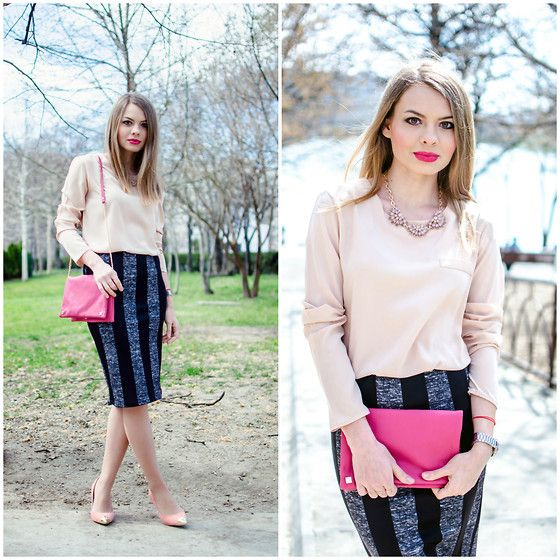 Lefties Blouse, Bershka Skirt, Six Bag, Blanco Shoes