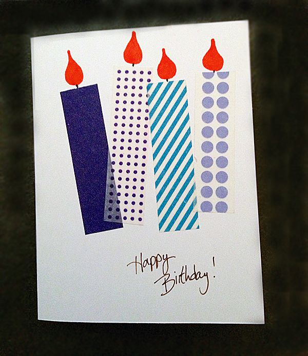 handmade birthday card ... one layer ... candles with washi tape bodies and a flame ... quick and informal ... fun design!