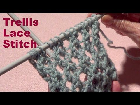 "Lace Knitting Patterns. Fish Thorn_ Вязание узора ""Сетка"" - YouTube"
