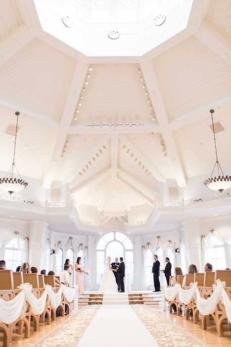 Modern fairy tale inspired ceremony at Disney's Wedding Pavilion