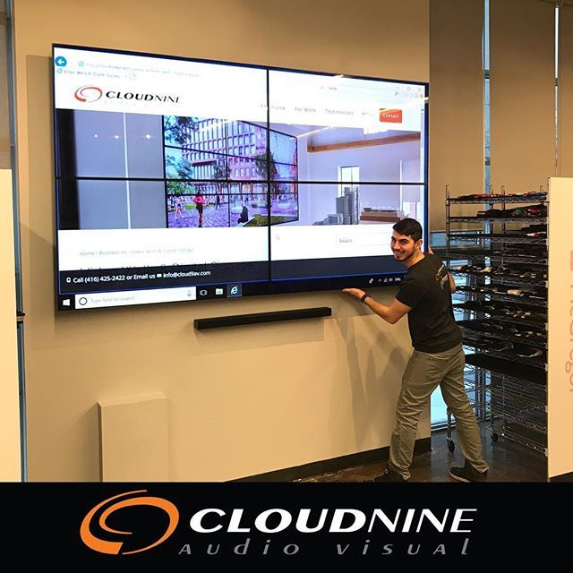 Adding an amazing 110 video wall to a local TORONTO business showroom so they can present ideas to their clients.  #videowall #samsungcommercialtv #audiovisual #businessdisplay #boardroomsystem #commercialdisplay