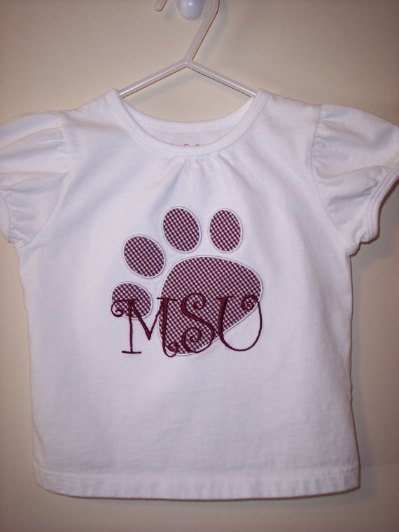 Mississippi State Bulldogs Paw Print MSU by SewWhatsGoingOn