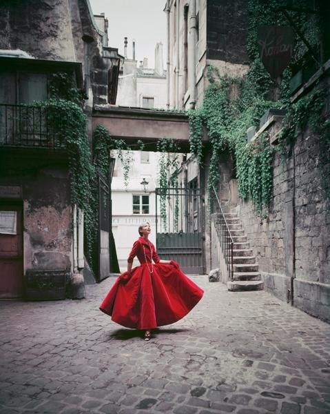 Mark Shaw: Red Chanel Gown in Paris Courtyard #4: