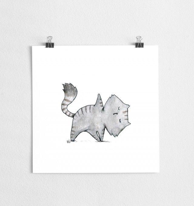 Yoga cat, Art print/ poster by Scandinavian designer A Grape Design - Nordic Design Collective