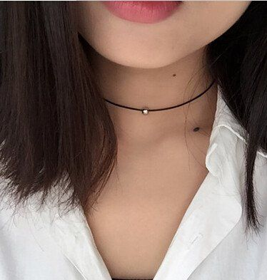 Black braided Leather Cord Choker Necklace