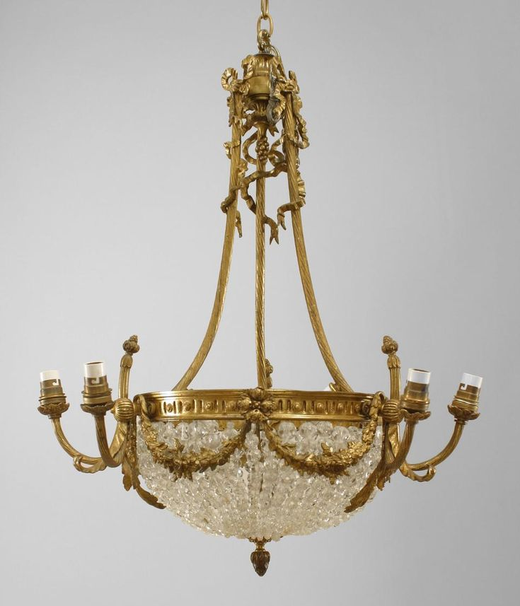 French Victorian Gilt Bronze Chandelier With 3 Pair Of Arms Emanating From  A Crystal Beaded Bowl - 131 Best Chandelier Images On Pinterest Chandeliers, Antique