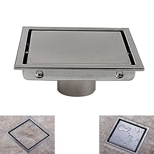 Best price on Square Shower Floor Drain with Tile Insert Grate - Made of Sus304 Stainless Steel , 6-inch , Multipurpose , Invisible Look or Flat Cover - Brushed Stainless // See details here: http://bigticketappliances.com/product/square-shower-floor-drain-with-tile-insert-grate-made-of-sus304-stainless-steel-6-inch-multipurpose-invisible-look-or-flat-cover-brushed-stainless/ // Truly a bargain for the inexpensive Square Shower Floor Drain with Tile Insert Grate - Made of Sus304 Stainless…