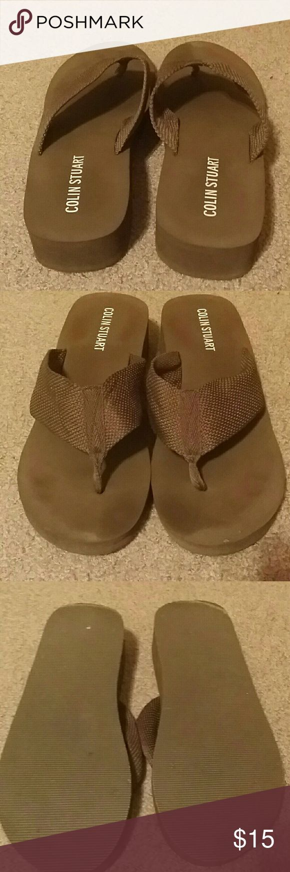 Colin Stuart flip flops Colin Stuart flip flops one in black and 1 in brown never been worn Colin Stuart Shoes Sandals