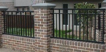 brick & iron fence