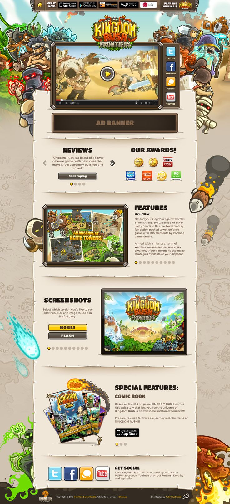 Unique Web Design, Kingdom Rush Frontiers @jeldrez #WebDesign #Design (http://www.pinterest.com/aldenchong/)