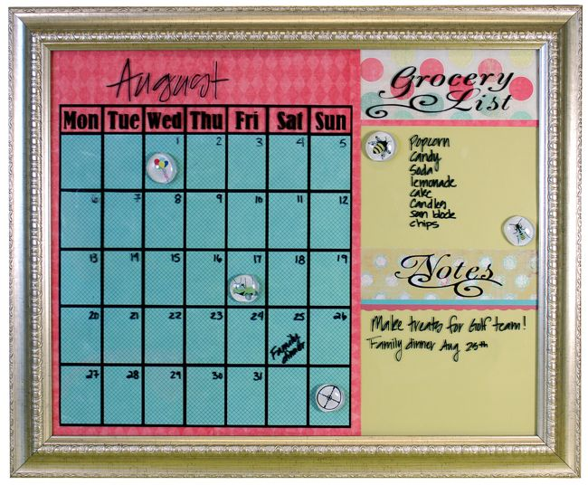 Write-on, Wipe-off Calendar! Vinyl on the inside of glass picture frame. Use papers and colors to match your style.