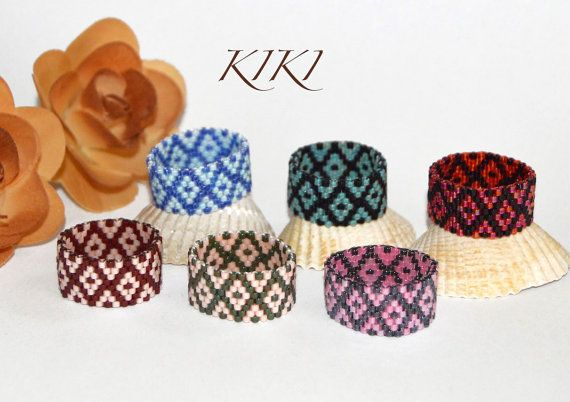 Beaded ring peyote ring seedbead diamond patterned от KikisBeadArt