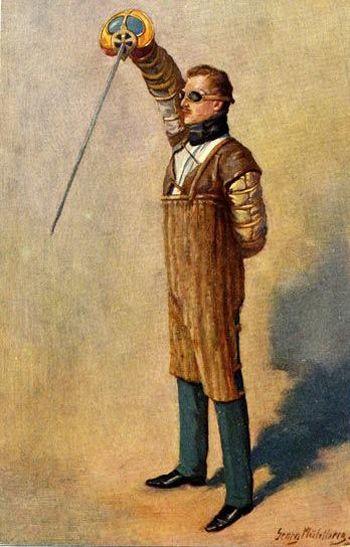 """Georg Mühlberg: Der Herr Paukant: Darstellung eines Fechters mit Korbschläger in """"verhängter Auslage"""", circa 1900"""