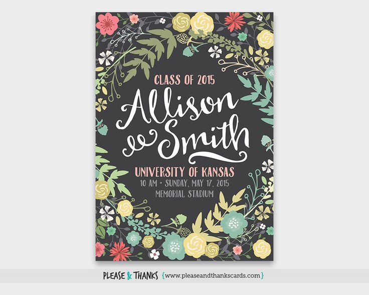 Graduation Announcement Printable High School Graduation Invitation College Grad Commencement 2016 Senior Flowers No Photo Digital ANN015 by PleaseAndThanksCards on Etsy https://www.etsy.com/listing/225595130/graduation-announcement-printable-high