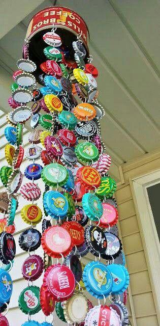 Bottlecap windchime-for the millions of beer bottle caps we have!