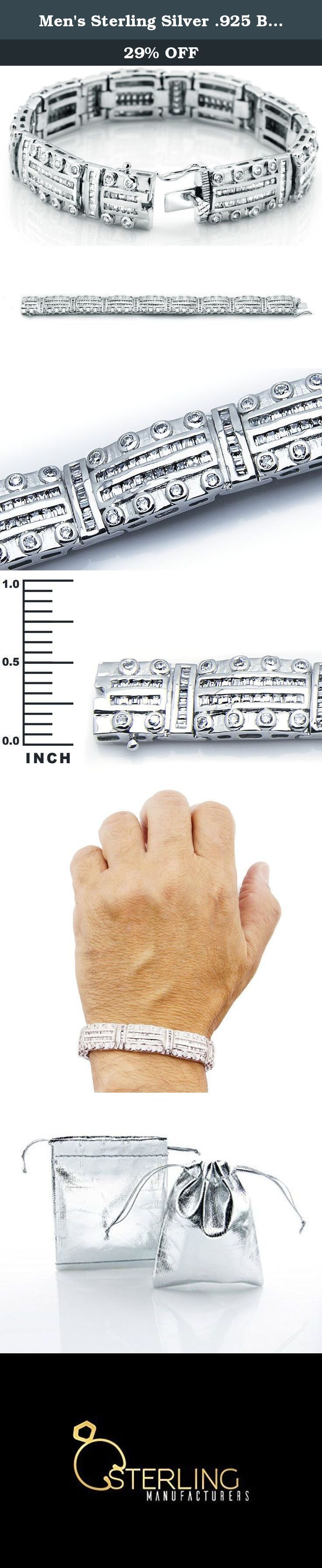 "Men's Sterling Silver .925 Bracelet with 329 Channel set Fancy Baguette and Round shaped Cubic Zirconia (CZ) Stones, Box Lock, Original Design, Platinum Plated. Sizes available 8""9"". Men's Sterling Silver .925 Bracelet with 329 Cubic Zirconia (CZ) Stones and Box Lock, Platinum Plated. Sizes Avail: 8"" 9"". Sleek and stunning, this polished rhodium plated bracelet has secure soldered hinges and flexible links. Weight is Approx 85.2 grams. Ships from the US. ABOUT CUBIC ZIRCONIA (CZ): Cubic..."