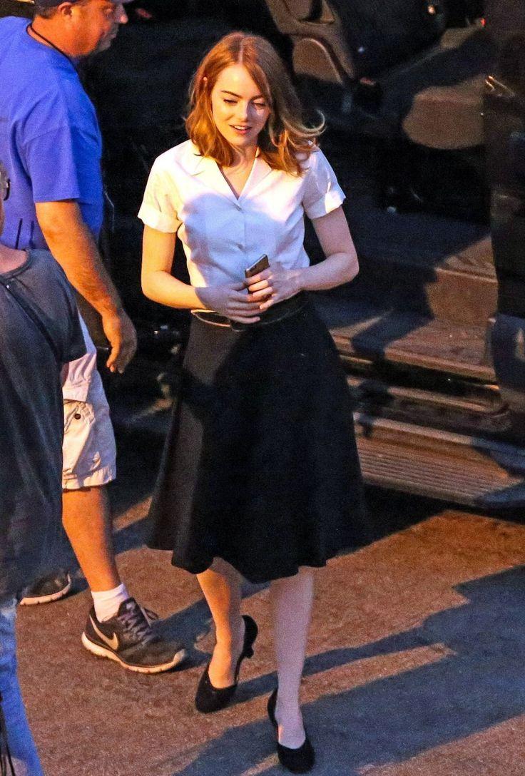 EMMA STONE on the Set of La La Land in Los Angeles 08/20/2015