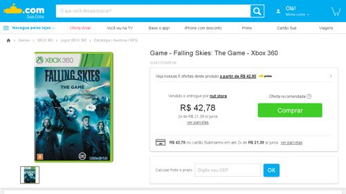[Submarino] Game - Falling Skies: The Game - Xbox 360 - de R$ 112,49 por R$ 35,19 (17% de desconto)