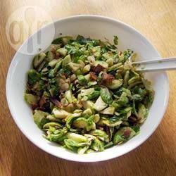 Bacon Brussels Sprouts----It's always good to have a few brussels sprouts recipes and this one is worth the effort. It combines Brussels sprouts with bacon and pine nuts.  Preparation: 0:15, Cook: 0:25, Serves: 8, Rated: 5/5 stars.
