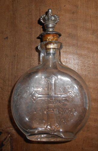 Antique Blown Glass Holy Water Bottle W Crown Sprinkler