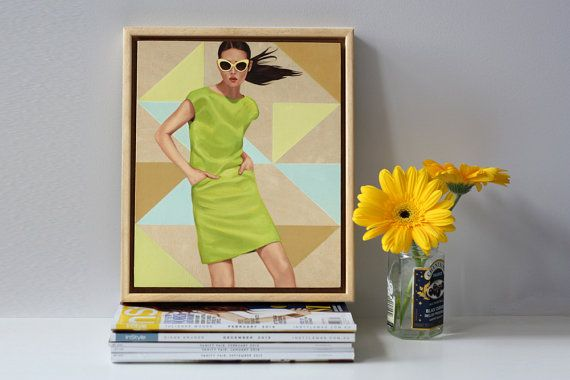 """Original Oil Painting on Wood Panel by Rose Miller inspired by fashion, vogue, pop art, figures and portrait art. """"Lemon Lime Pop"""""""