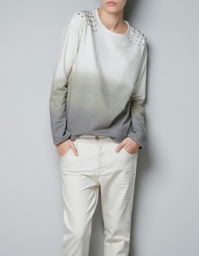 SWEATSHIRT WITH SPIKES - T-shirts - TRF - ZARA