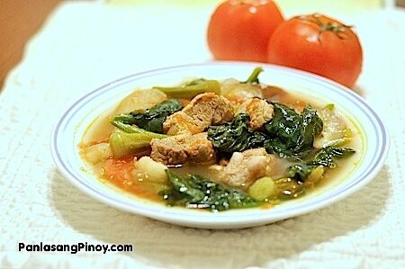 Pork Sinigang is a delicious Filipino sour soup dish. The soup is made from any cut of pork along tomato, string beans, spinach, and tamarind
