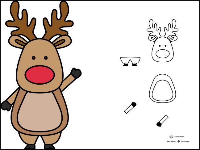 Zamimots, jeux de découpage collage et d'assemblage : le renne du père Noël.