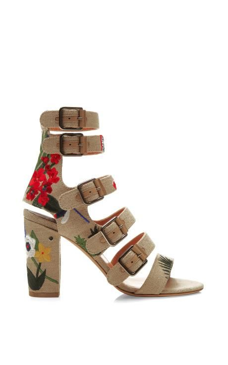 Dana Floral Embroidered Linen Sandals by Laurence Dacade