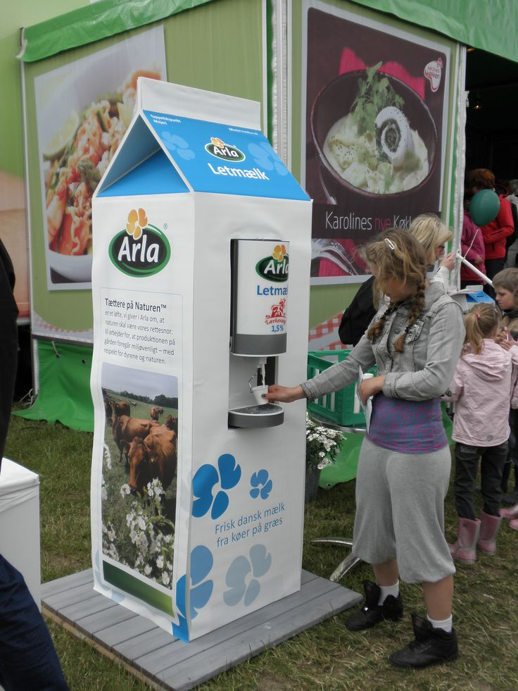 Larger than life milk carton! Designed to fit a milk dispenser for tasty samples. The base is made in MDF and is covered with a custom dress-up.