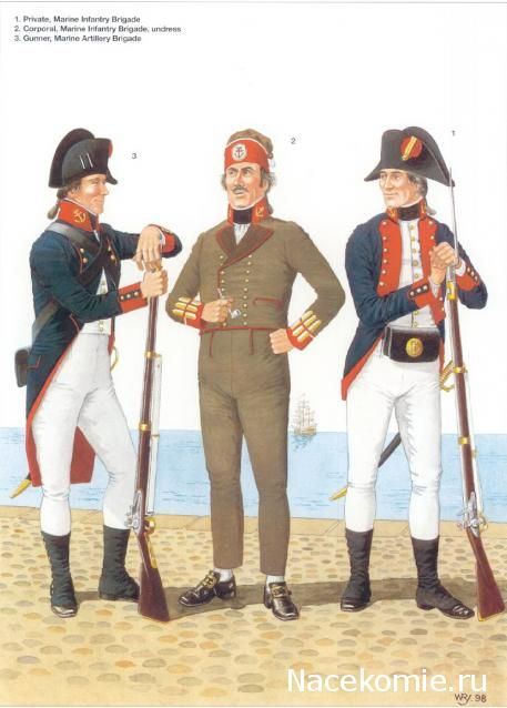 Spanish Army of the Napoleonic Wars (1) 1793-1808 1-Private, Marine Infantry Brigade 2-Corporal, Marine Infantry Brigade undress 3-Gunner, Marine Artillery Brigade