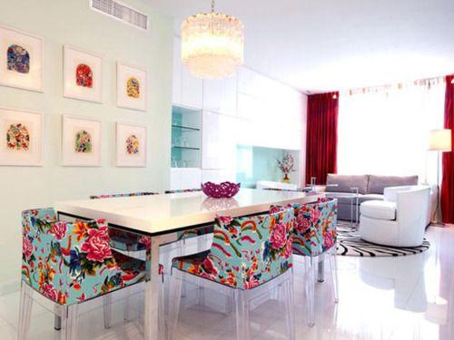 Bright white walls. Bright colored furniture. Super sleek and modern, but still fun. Dream house.
