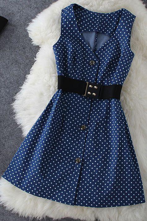 Polka Dot Denim Dress