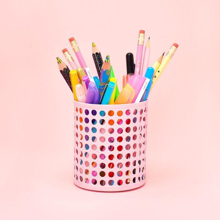 pink pencil cup