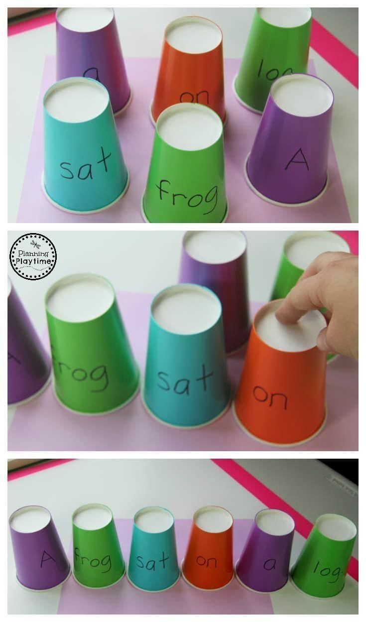 Build a Sentence Puzzle Cups - Fun Reading Activity for Kindergarten