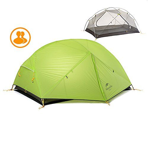 Naturehike Lightweight Double Layer 3 Season Tent Alluminium Poles 1-2 Person Rainproof Tent with Groundsheet for Camping Hiking Mountaineering