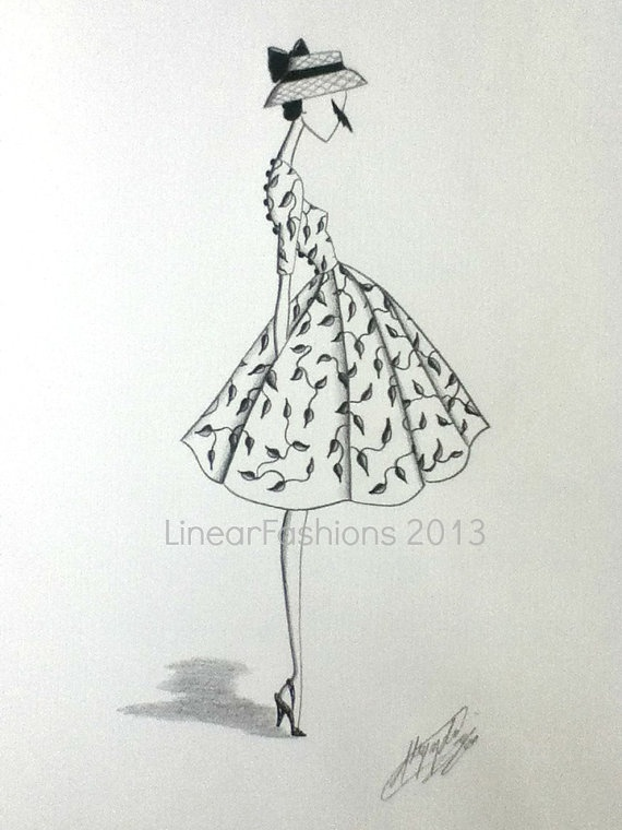 1950s Fashion Illustration by LinearFashions, $42.00| Be inspirational  ❥|Mz. Manerz: Being well dressed is a beautiful form of confidence, happiness & politeness